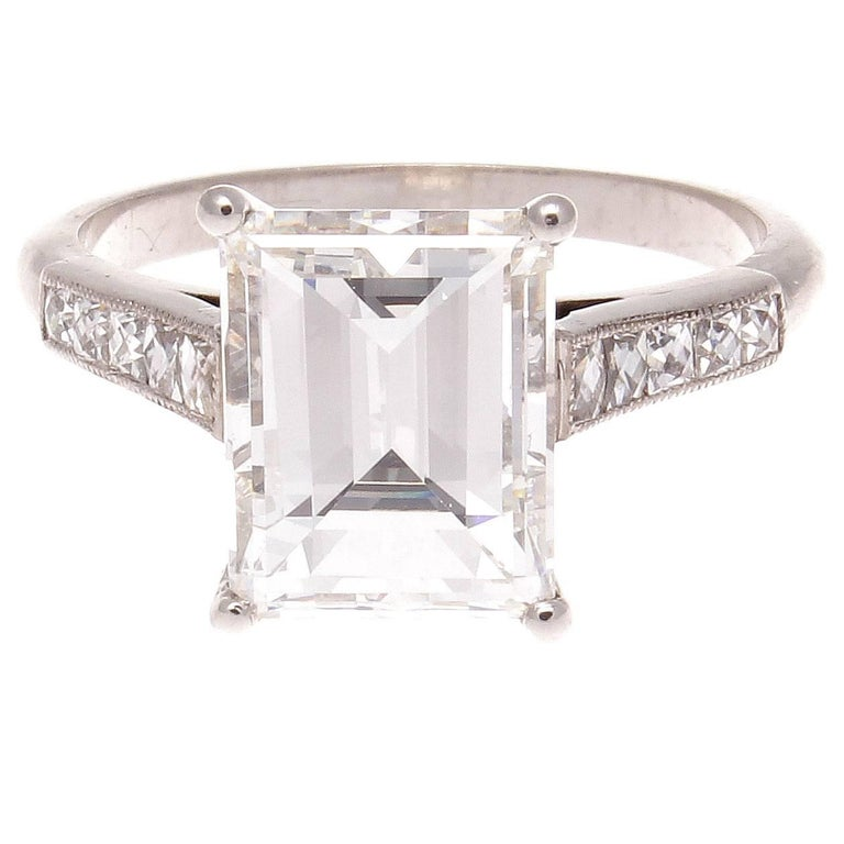 GIA Certified 3.56 Carat G VS2 Emerald Cut Diamond Platinum Engagement Ring