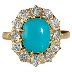 GIA 3.60ct Authentic Antique Victorian Turquoise Diamond Cluster Ring 18k YG