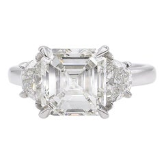 GIA 3.65 Carat Vintage Asscher Diamond 3-Stone Engagement Wedding Platinum Ring