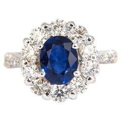 GIA 3.67 Carat Natural Vivid Royal Blue Diamonds Ring Cluster Halo 18 Karat