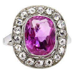 GIA 3.68 Carat Hot Vivid Pink Sapphire and Diamond Engagement White Gold Ring