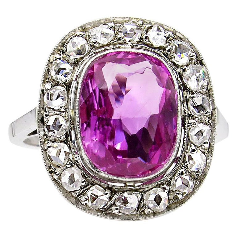 GIA 3.68 Carat Hot Vivid Pink Sapphire and Diamond Engagement White Gold Ring For Sale