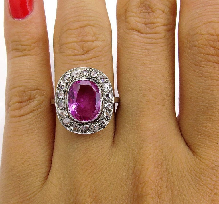 GIA 3.68 Carat Hot Vivid Pink Sapphire and Diamond Engagement White Gold Ring For Sale 4