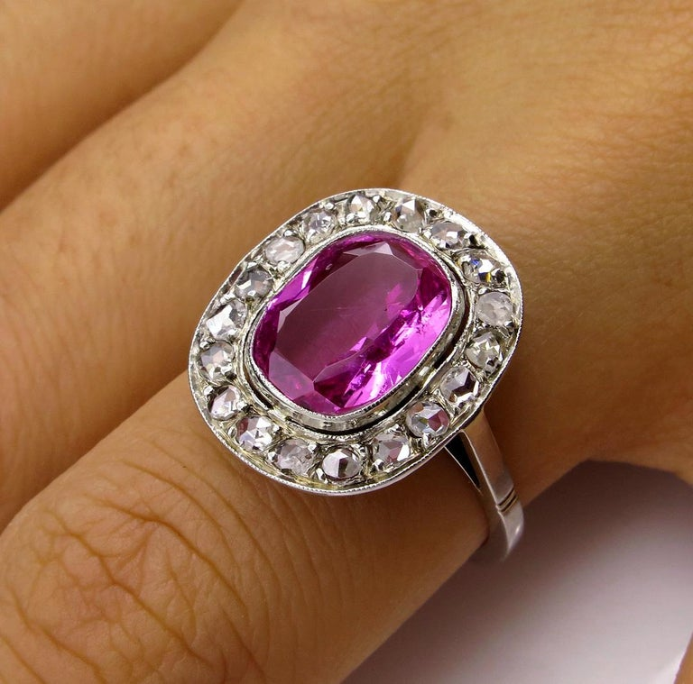 GIA 3.68 Carat Hot Vivid Pink Sapphire and Diamond Engagement White Gold Ring For Sale 6