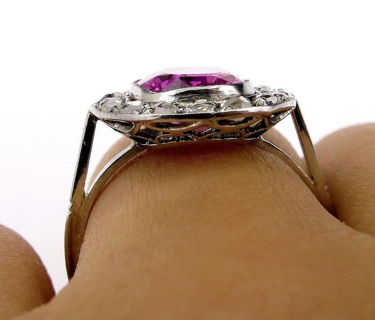 GIA 3.68 Carat Hot Vivid Pink Sapphire and Diamond Engagement White Gold Ring For Sale 8