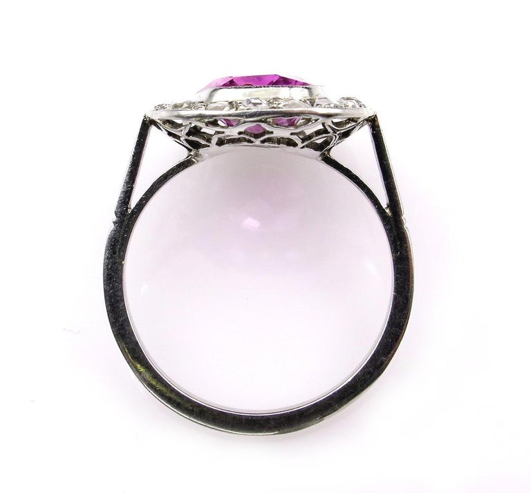 GIA 3.68 Carat Hot Vivid Pink Sapphire and Diamond Engagement White Gold Ring In Good Condition For Sale In New York, NY