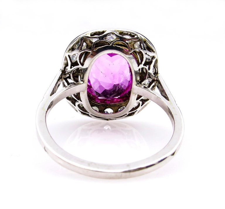 Women's GIA 3.68 Carat Hot Vivid Pink Sapphire and Diamond Engagement White Gold Ring For Sale