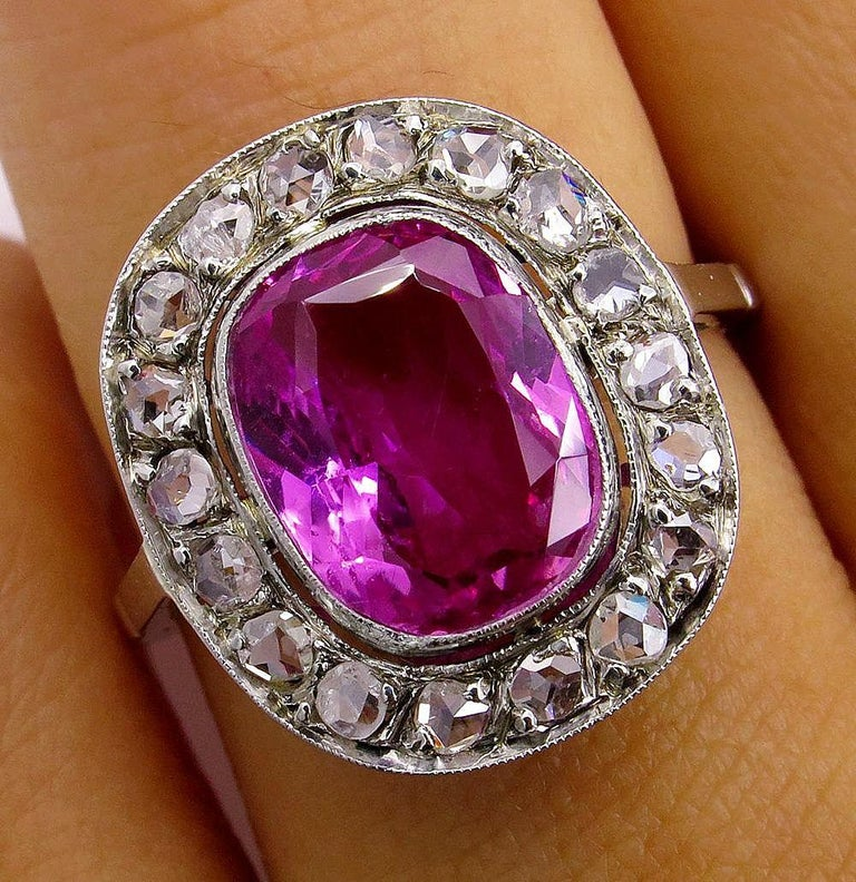 GIA 3.68 Carat Hot Vivid Pink Sapphire and Diamond Engagement White Gold Ring For Sale 1