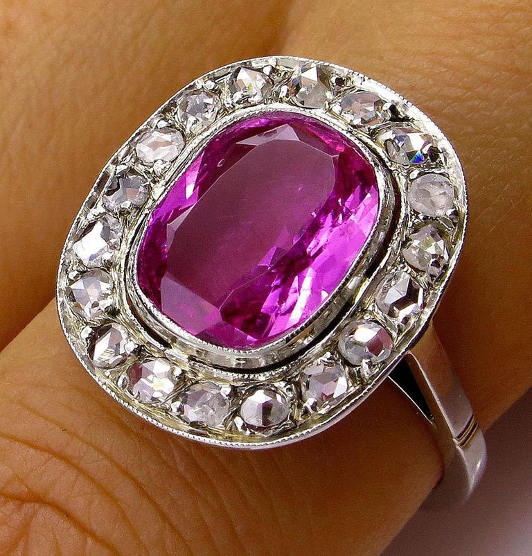 GIA 3.68 Carat Hot Vivid Pink Sapphire and Diamond Engagement White Gold Ring For Sale 2