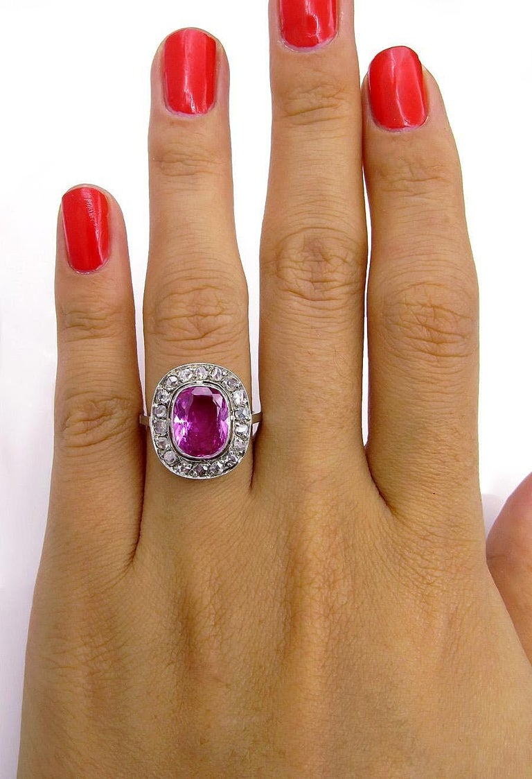 GIA 3.68 Carat Hot Vivid Pink Sapphire and Diamond Engagement White Gold Ring For Sale 3