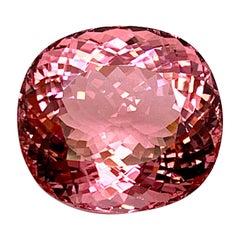 GIA 36.96 Carat Pink Tourmaline Cushion, Pendant Collector Unset Loose Gemstone
