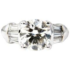 GIA 3.77 Carat Traditional Round Baguettes Diamond Ring Platinum VS2 K