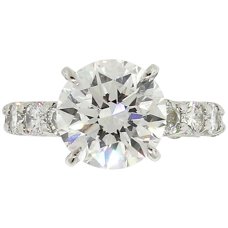 GIA 3.80 Carat Round Brilliant Diamond Platinum Engagement Ring