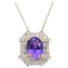 GIA 3.83 Carat Unheated Violet-Purple Sapphire Pendant Necklace