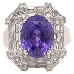 GIA 3.83 Carat Unheated Violet-Purple Sapphire Ring