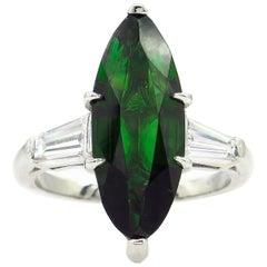 GIA 3.85 Carat Green Tourmaline Diamond Engagement Wedding Platinum Ring