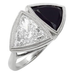 GIA 3.88 Carat Crossover Bypass Diamond Onyx Engagement Wedding Platinum Ring