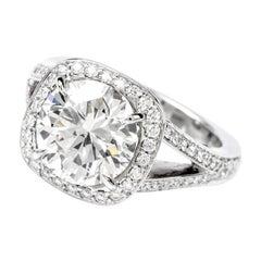 GIA 3.89 Carat Round Diamond G-VVS2 Platinum Diamond Engagment Ring