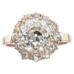 GIA 3.96 Carat Diamond Gold Ring