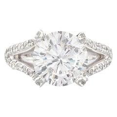 GIA 4 Carat Round Brilliant Cut Diamond Platinum Ring