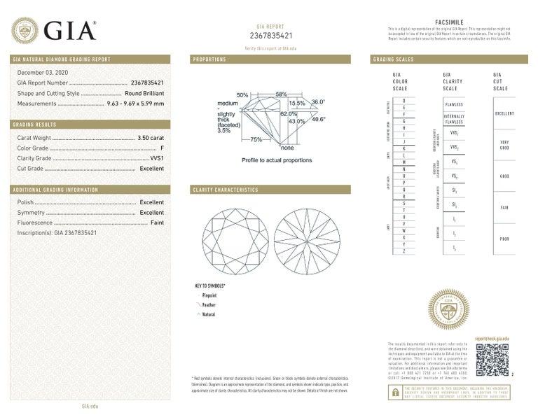 Round Cut GIA 4 Carat Round Brilliant Cut Diamond Ring VVS1 F Color For Sale