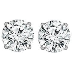 I FLAWLESS GIA Certified 4.40 Carat Diamond Studs