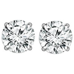 GIA 4.06 Carat Round Brilliant Cut Diamond Studs E Color VVS1