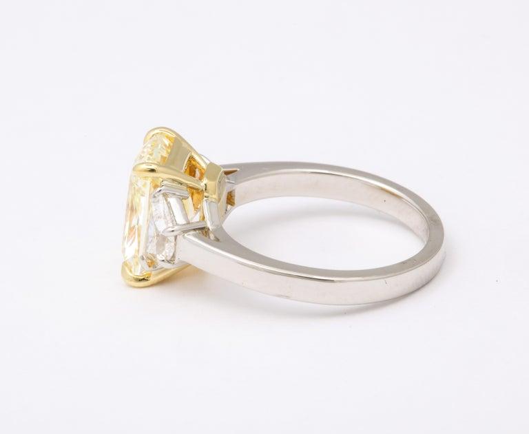 Radiant Cut GIA 4 Carat Yellow Diamond Ring For Sale