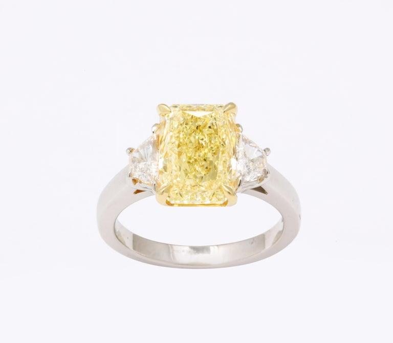GIA 4 Carat Yellow Diamond Ring For Sale 1