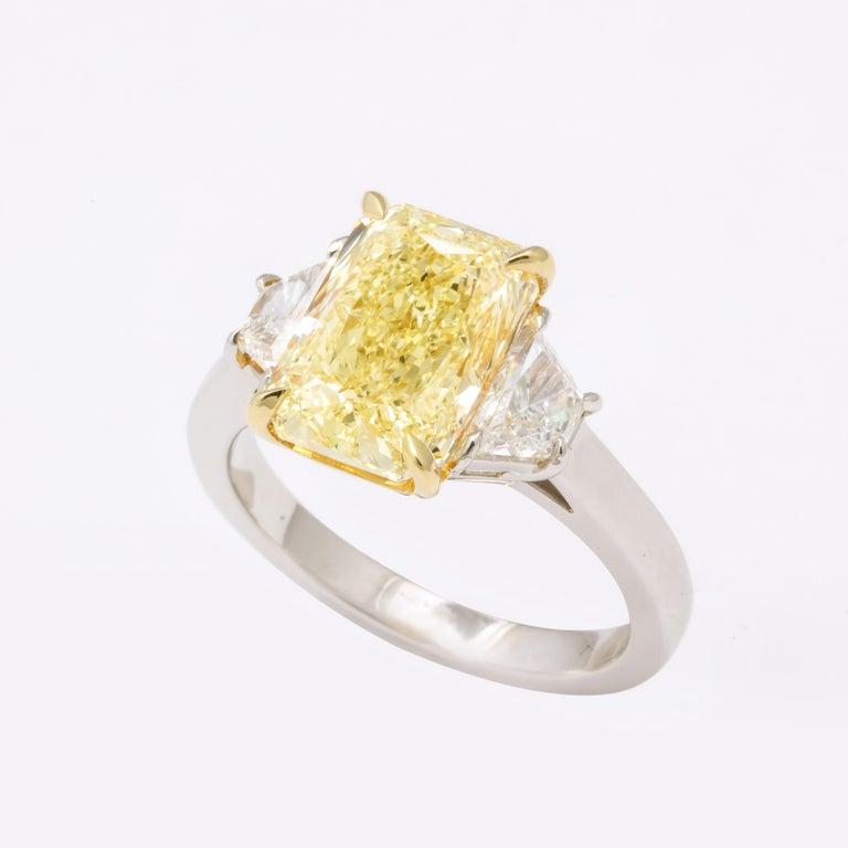 GIA 4 Carat Yellow Diamond Ring For Sale 2