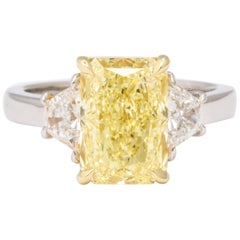 GIA 4 Carat Yellow Diamond Ring
