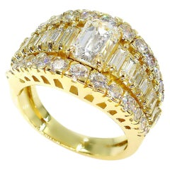 GIA 4.0 Carat Emerald Cut Diamond Vintage Triple Band Yellow Gold Ring