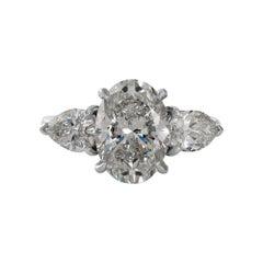 GIA 4.01ct Estate Vintage Oval Diamond 3 Stone Engagement Wedding Platinum Ring