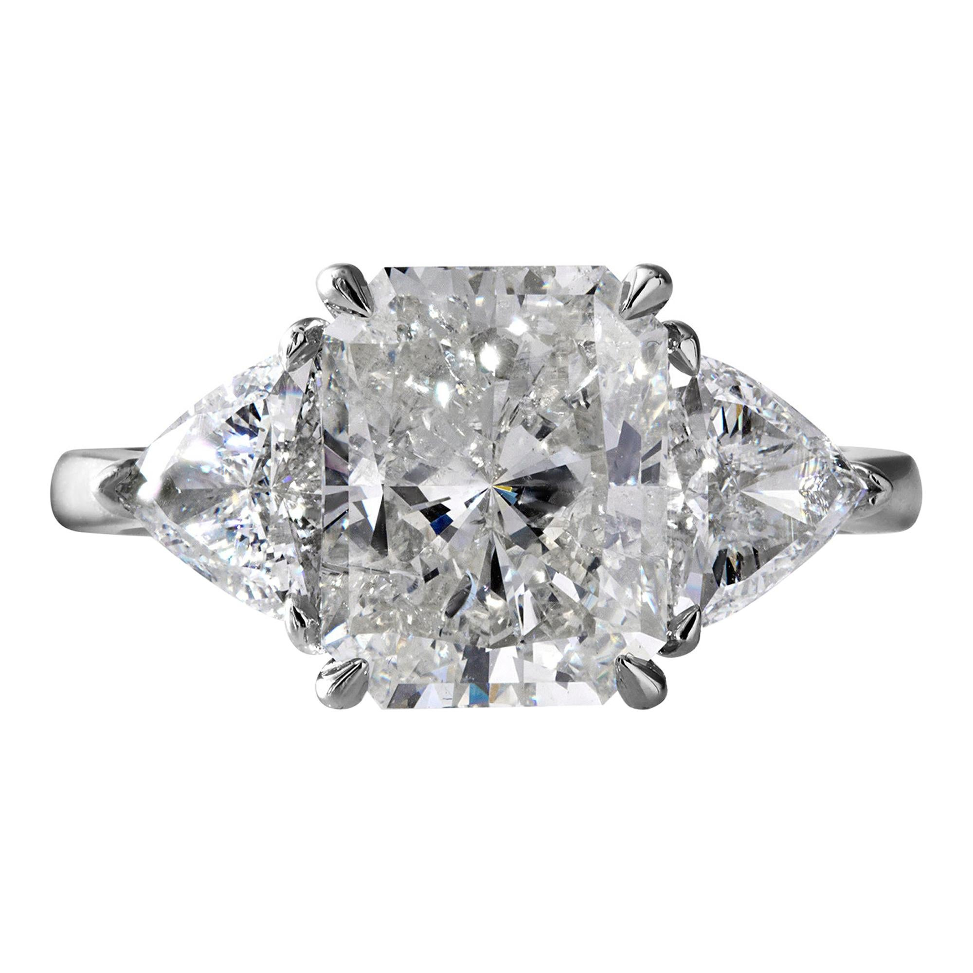 GIA 4.01Ct Estate Vintage Radiant Diamond 3 Stone Engagement Wedding Plat Ring