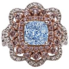 GIA 4.02 Carat Natural Light Blue and Argyle Pink Diamonds Engagement Ring