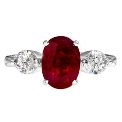 GIA 4.02ct Estate Vintage Burma Red Ruby Diamond 3Stone Engagement Wedding WG