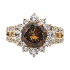 GIA 4.03 Carat Fancy Cognac Round Diamond Cluster Wedding Rose Gold Ring