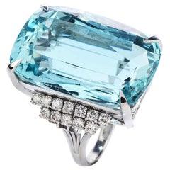 GIA 40.45 Carat Aquamarine Diamond Platinum Cocktail Ring