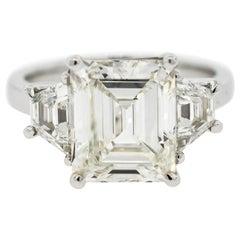 GIA 4.05 Carat Emerald Cut Diamond Three-Stone Ring
