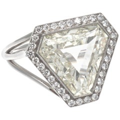 GIA 4.06 Carat Triangular Cut Diamond Platinum Engagement Ring