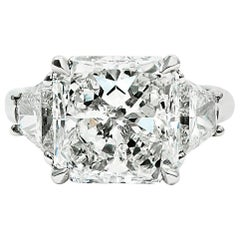 GIA 4.10 Carat Radiant Cut Diamond Platinum Ring with Traps by J Birnbach