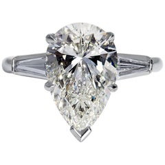 GIA 4.14 Carat Estate Vintage Pear Shaped Three-Stone Diamond Platinum Ring