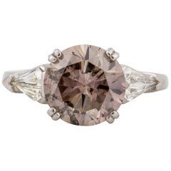 GIA 4.17 Carat Fancy Dark Pinkish-Brown Diamond Ring
