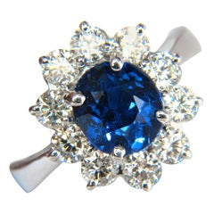 GIA 4.18 Carat No Heat Natural Sapphire Diamond Ring Cluster Unheated Blue