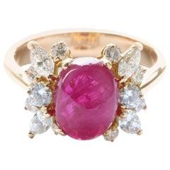 GIA 4.20 Carat Ruby Cabochon 18 Karat Gold Ring