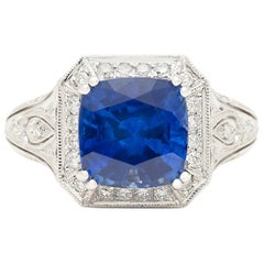 GIA 4.30 Carat Sri Lanka Sapphire and Diamond Ring