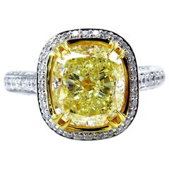 GIA 4.32 Carat Natural Fancy Yellow Cushion Diamond Solitaire Gold Ring