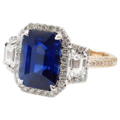 GIA 4.41ct Natural Ceylon Blue Emerald Cut Sapphire Diamond Rose Gold Plat Ring
