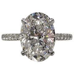 GIA 4 Carat Oval Diamond Pave Ring D Color VS1 Clarity