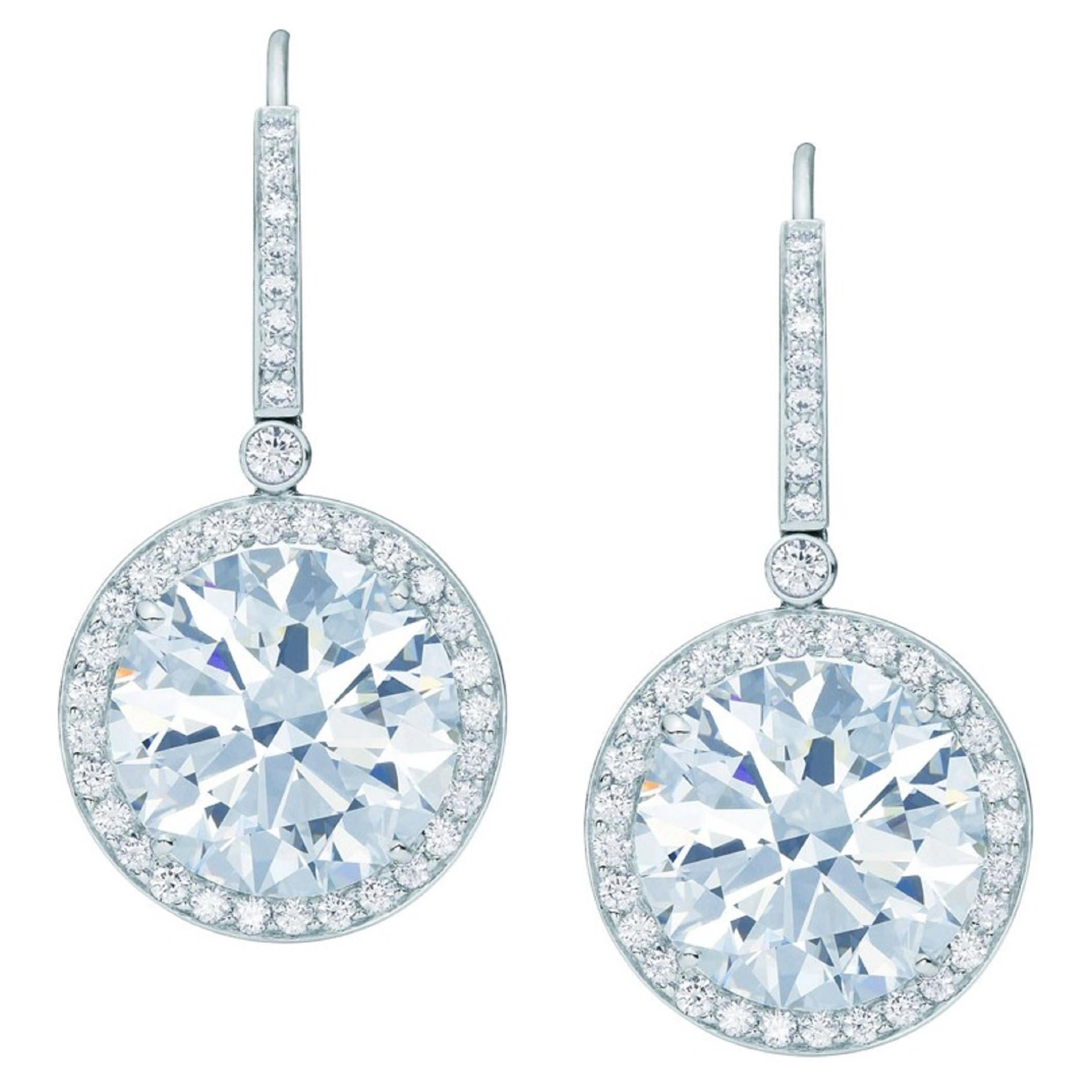 GIA 4 Carat Round Brilliant Cut Diamond Dangle Halo Earrings